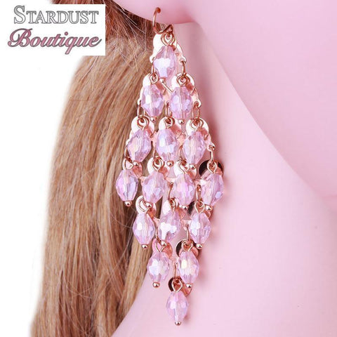 Tassel drop pageant earrings in pink, green, purple and silver.