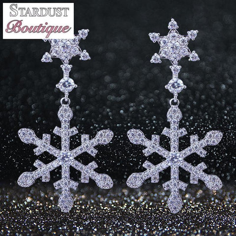 Snowflake cubic zirconia earrings in silver.