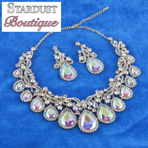 Luxury crystal necklace and earrings pageant set in AB.