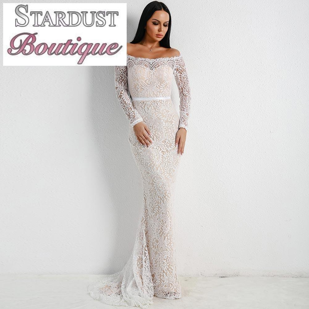 Beautiful Lace Arm Floor-length Gown