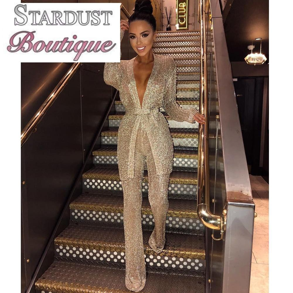 Gold Sparkly Two Piece Jumpsuit