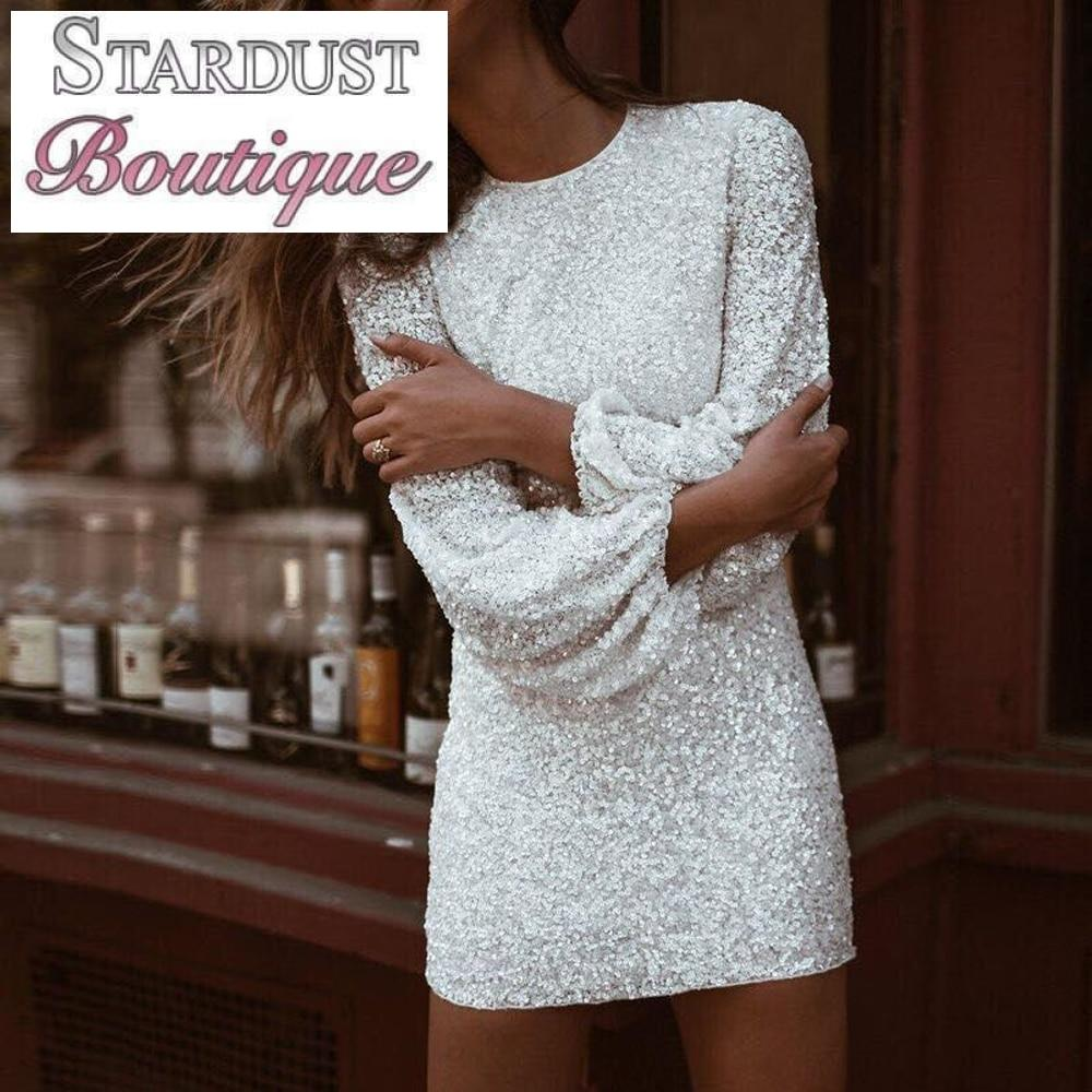 Beautiful Sequin Flare Sleeve Party Dress Dress