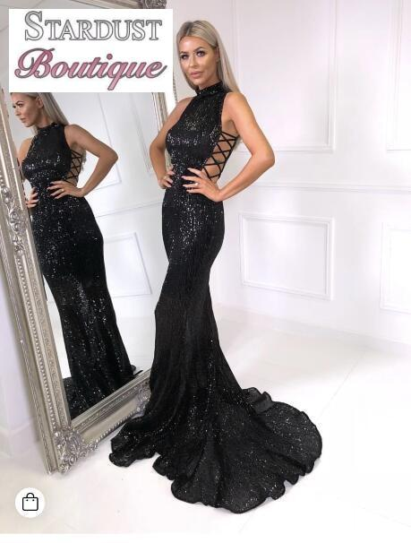 Elegant Sequin Women Dress Black / L Dress