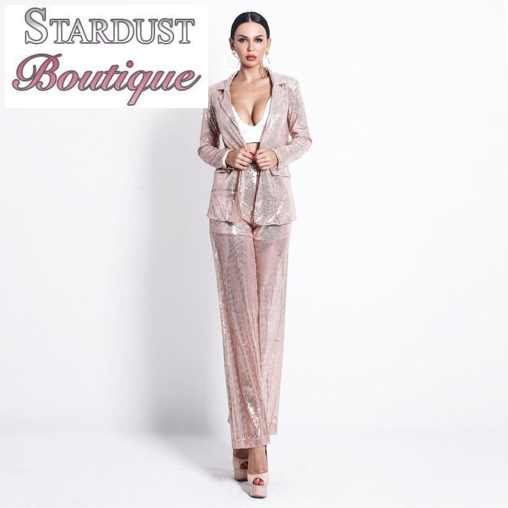 Gorgeous Sequin Two-Piece Suit Set