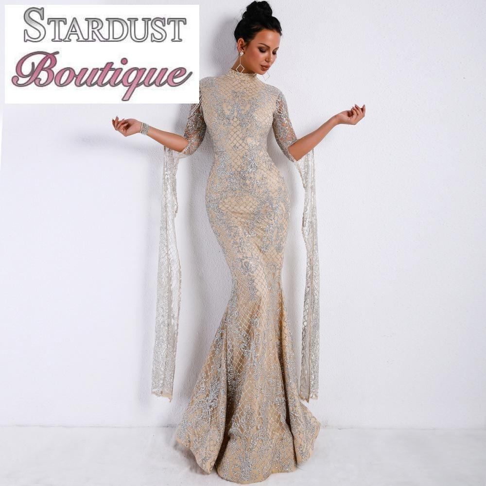 Beautiful silver gown with shoulder pieces