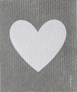 Ten and Co. Sponge Cloth - Big Love Grey Heart - Anise Modern Apothecary