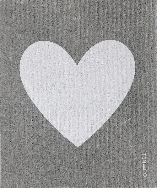Ten and Co. Sponge Cloth - Big Love Grey Heart