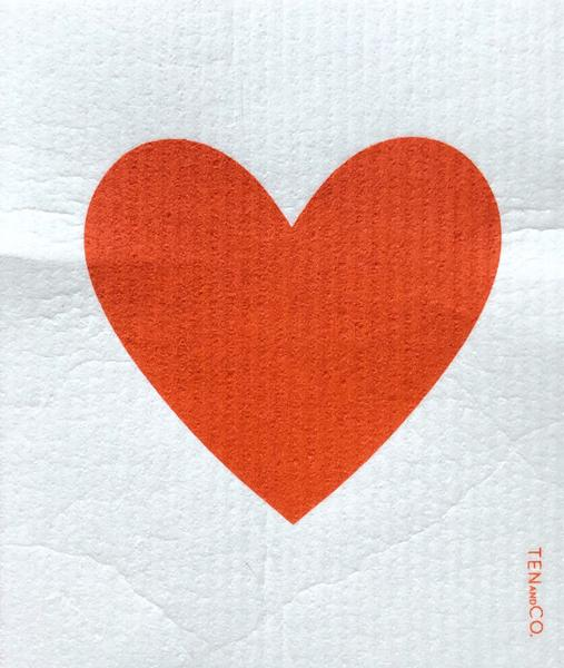 Ten And Co Sponge Cloth - Big Love Red Heart - Anise Modern Apothecary