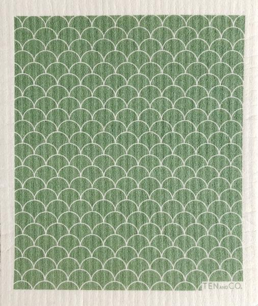 Ten And Co Sponge Cloth - Scallop Sage - Anise Modern Apothecary