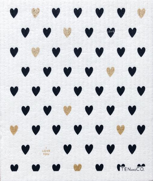 Ten And Co. Sponge Cloth - Heart Gold/Black - Anise Modern Apothecary