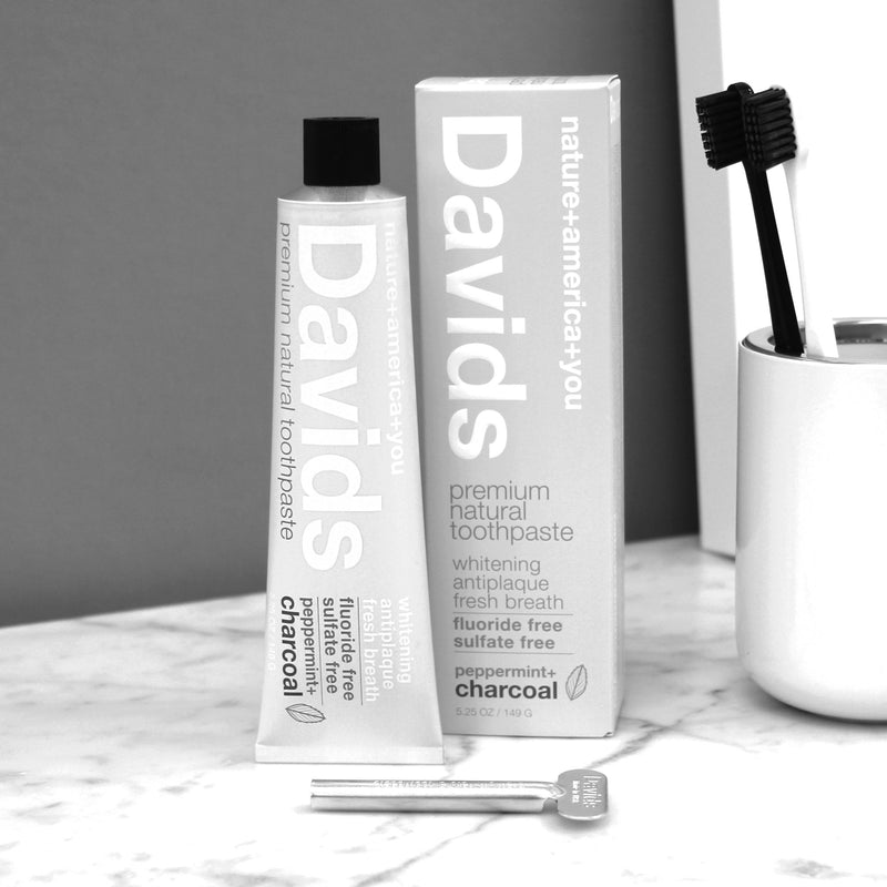 David's Premium Natural Toothpaste - Peppermint + Charcoal