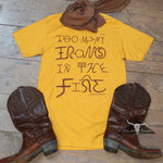 Load image into Gallery viewer, Too Many Irons T-Shirt Mustard, Benita Ceceille