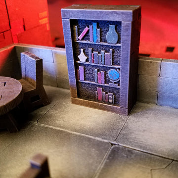 book shelf bookcase for dungeons and dragons