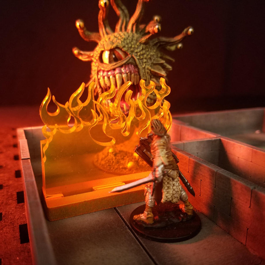 dungeons & dragons 5e spell effect wall of fire miniature