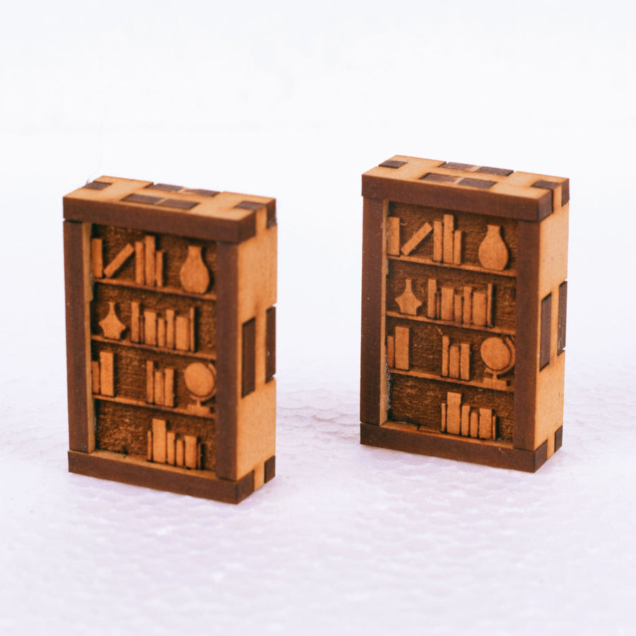 miniature bookshelves laser cut mdf terrain