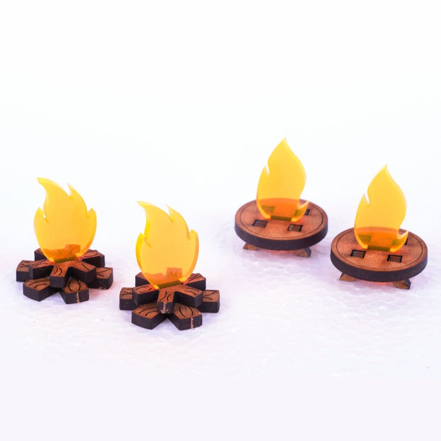 miniature fire and torch set dungeon