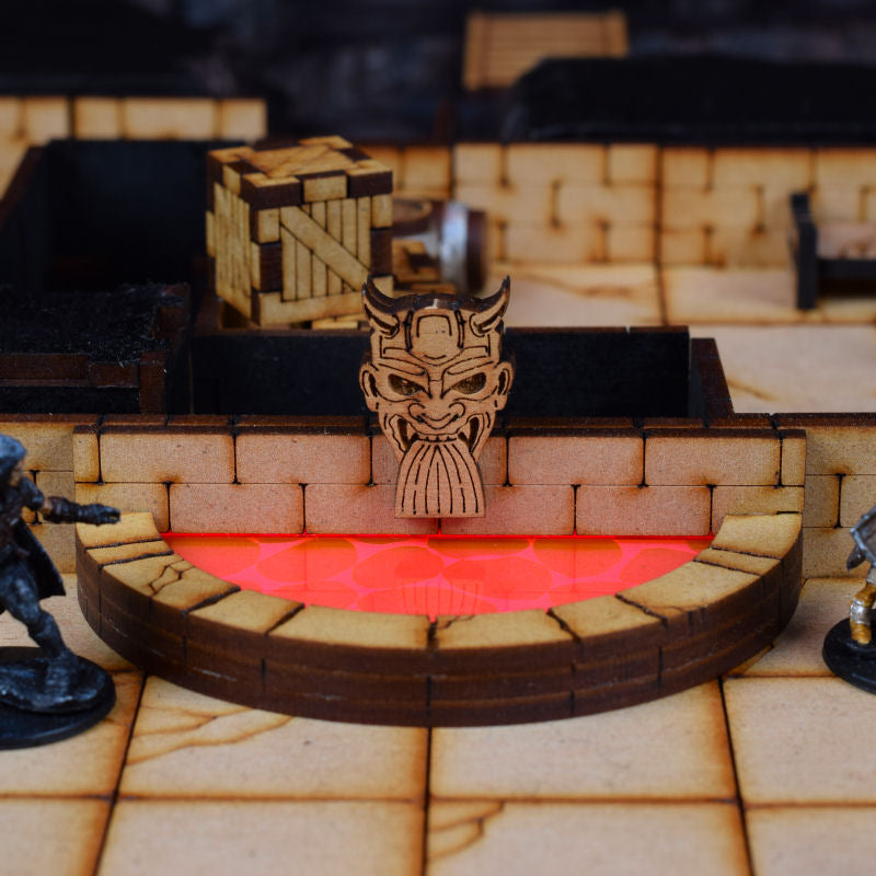 demon head fountain in dungeon with lava insert