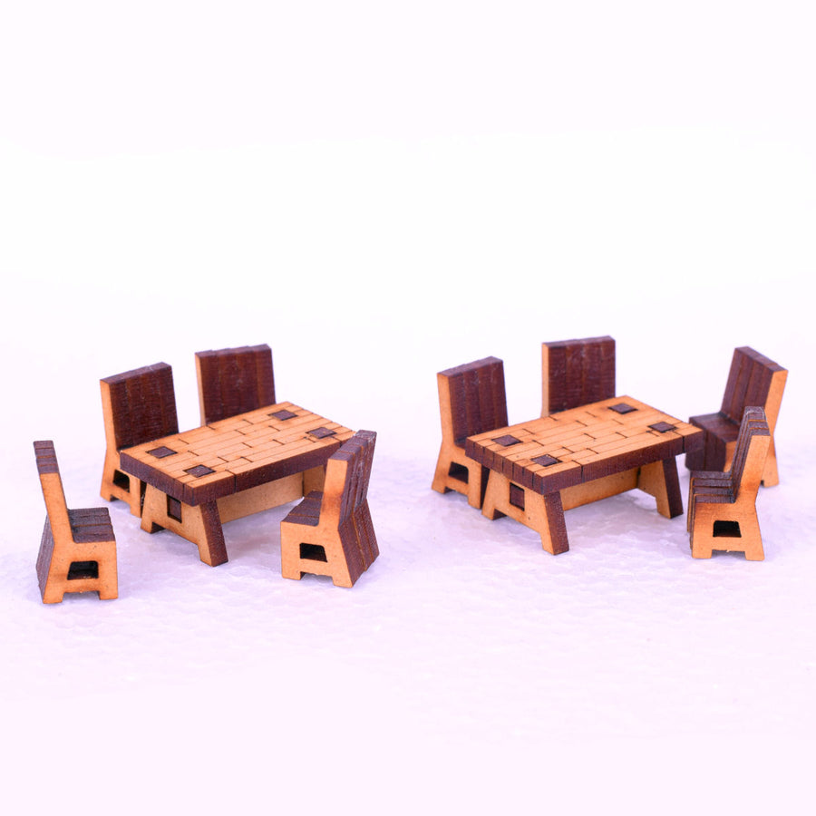 miniature long table and chairs for tabletop and rpg gaming