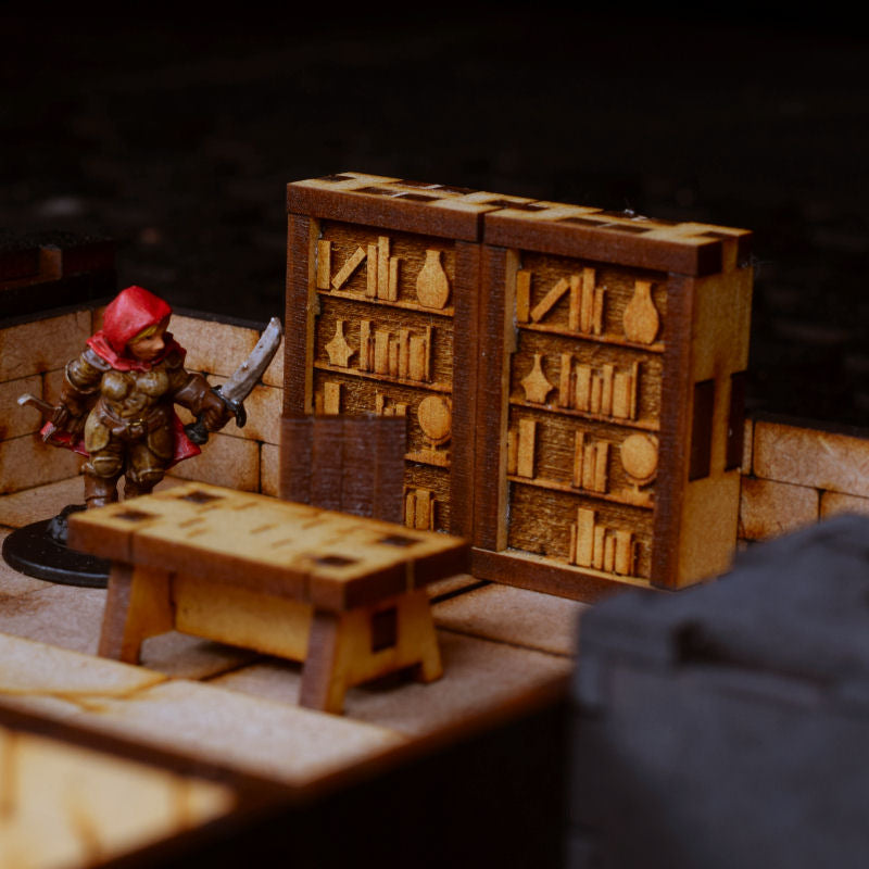 miniature bookshelves dungeon terrain scatter