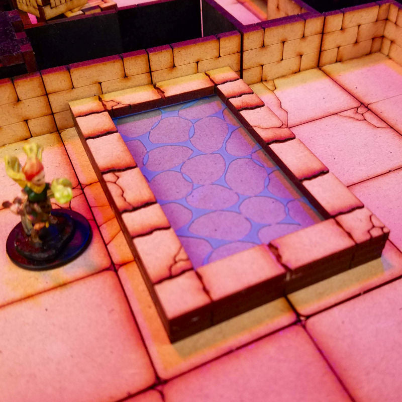rectangular pool in dungeon with water insert