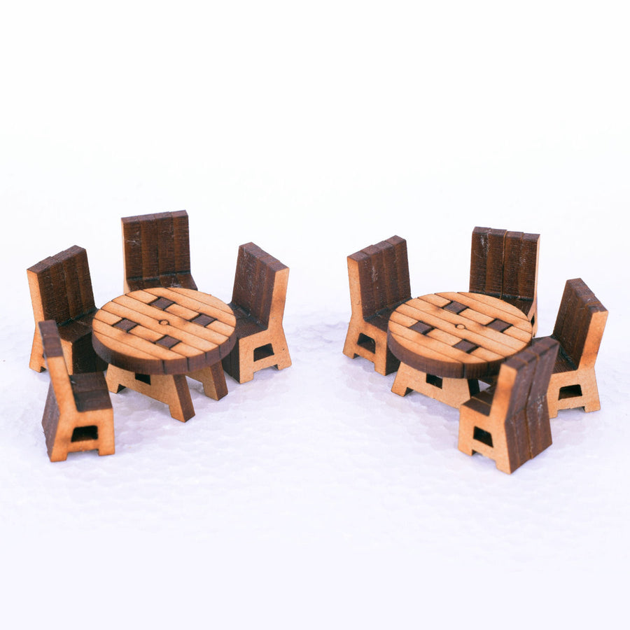 miniature round table and chairs for tabletop and rpg gaming