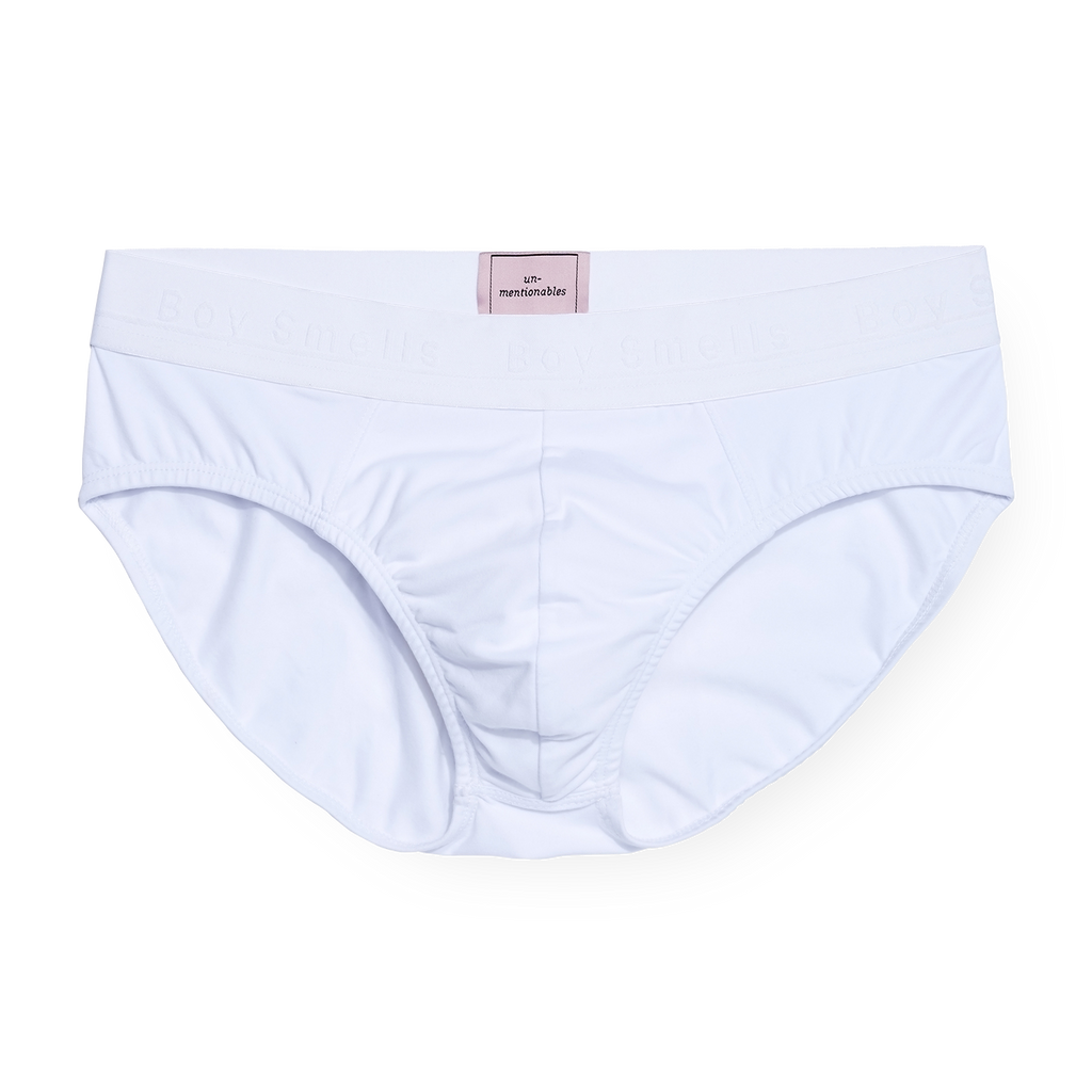 "MEN'S ""BOY SMELLS"" WHITE BRIEF"