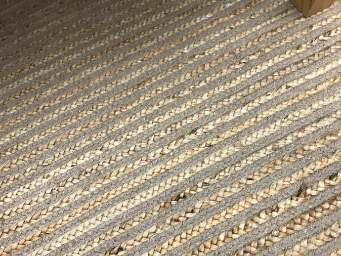 JUTE RUG - COTTON/JUTE STRIPE BRAIDED