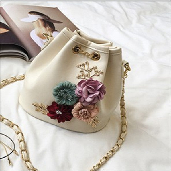 92284679680a1 2018 New Fashion Sweet Lady Flower Handbags Bucket Bag
