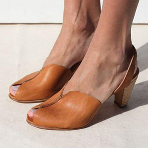 Women's Real Leather Stable Casual Peep Toe Sandals