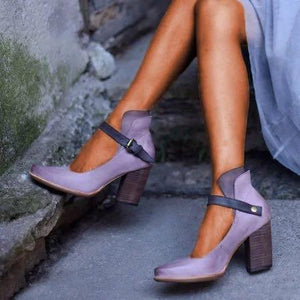 Women Casual Vintage Chunky Heel Ankle Protect Sandals
