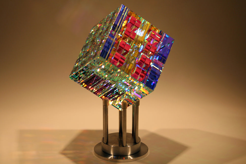 Chroma Cube Fine Art Glass Contemporary Sculpture by glass artist Jack Storms 3