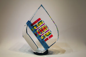 Large Blue Tierdrop Crystal Cube Glass Sculpture by Fine Art Glass Artist Jack StormsIMG_0235