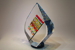 Large Blue Tierdrop Crystal Cube Glass Sculpture by Fine Art Glass Artist Jack StormsIMG_0241