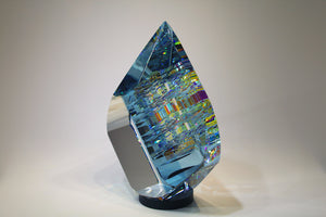 Large Blue Tierdrop Crystal Cube Glass Sculpture by Fine Art Glass Artist Jack StormsIMG_0263