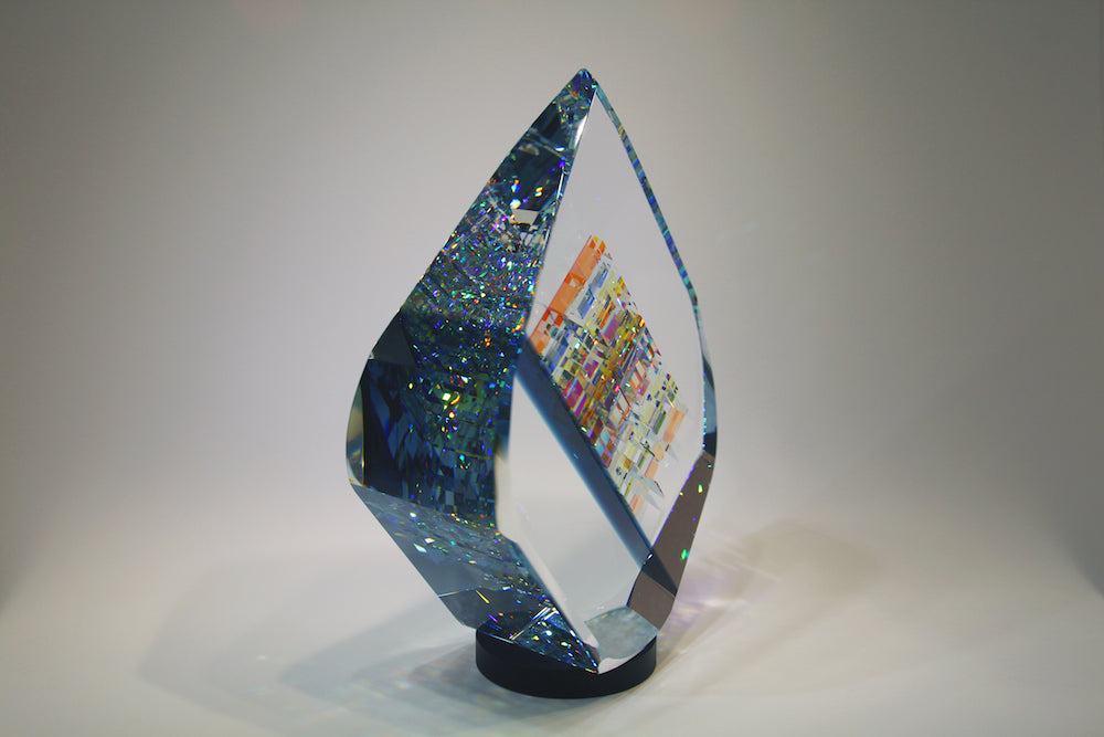 Large Blue Tierdrop Crystal Cube Glass Sculpture by Fine Art Glass Artist Jack StormsIMG_0280