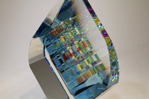 Large Blue Tierdrop Crystal Cube Glass Sculpture by Fine Art Glass Artist Jack StormsIMG_0313