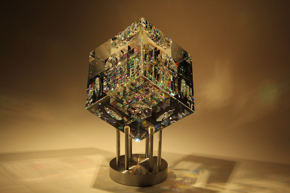Spectrum Cube Crystal Cube Glass Sculpture by Fine Art Glass Artist Jack Storms2