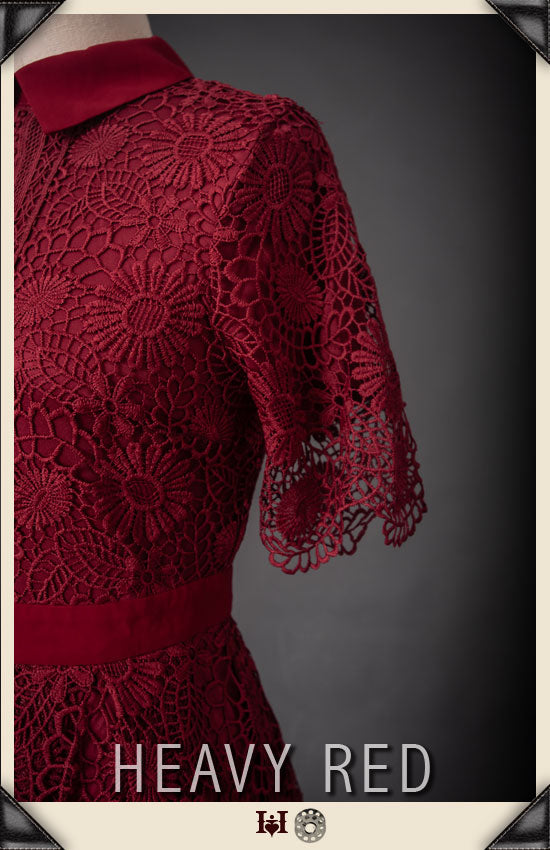 Hidden Impropriety Rouge Lace Dress