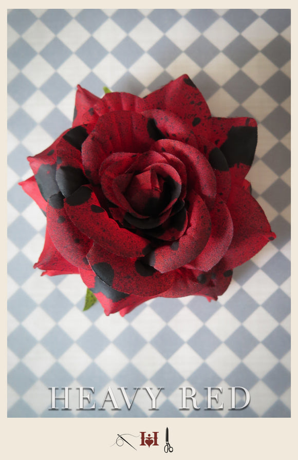 Queen of Hearts Red Rose Hair Piece