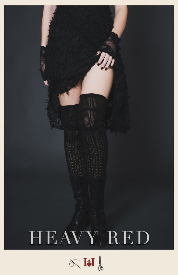 Black Crochet Thigh High Sweater Stockings