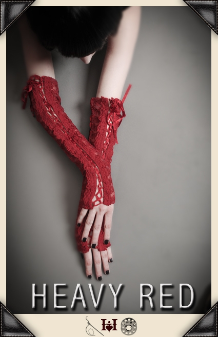 Bound By Love Red Corset Gloves