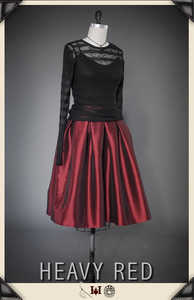Jeweled Perception Red Taffeta Skirt