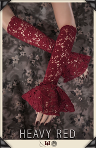 Crimson Lace Evening Gloves