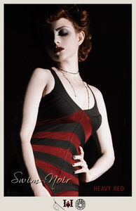 Insidious Temptation - One Piece Red/Black Vintage Bathing Suit