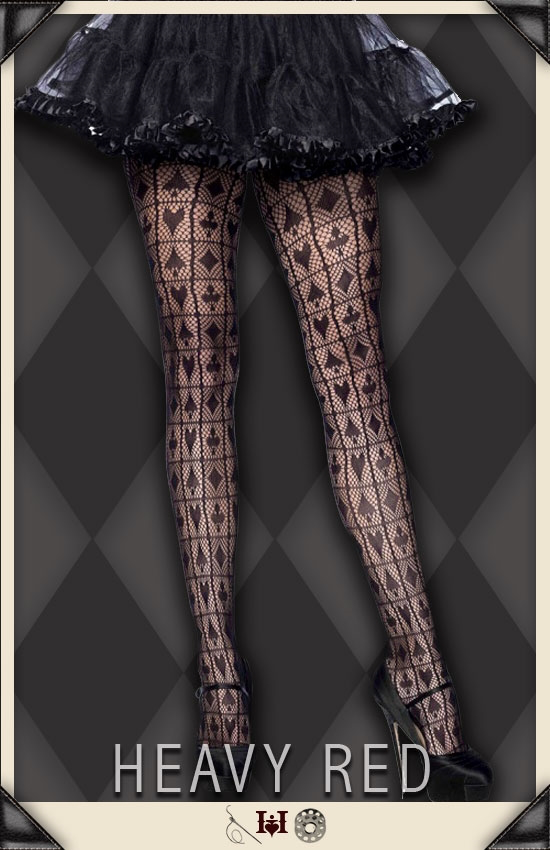 Alice In Wonderland Card Suit Net Stockings