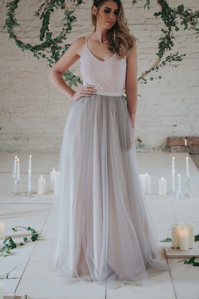 Luna // Long Nude Pink / Grey Tulle Skirt