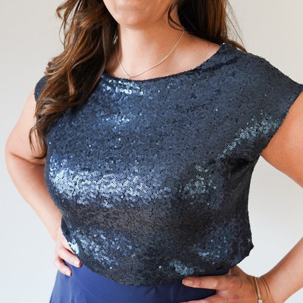 Alexia // Navy Sequin Top
