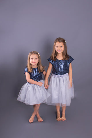 Navy Sequin Children's Top