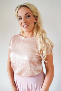 Alexia // Rose Gold Sequin Top