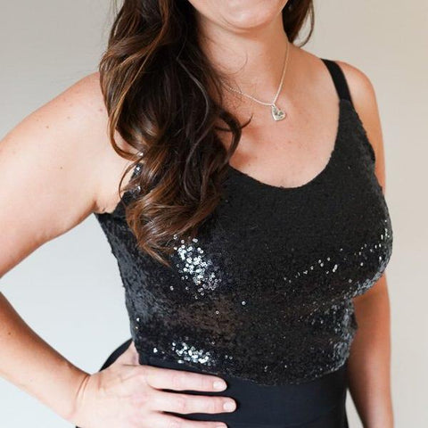 Elle // Black Sequin Camisole Top
